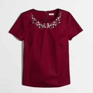 J. Crew Factory Jeweled Necklace Blouse